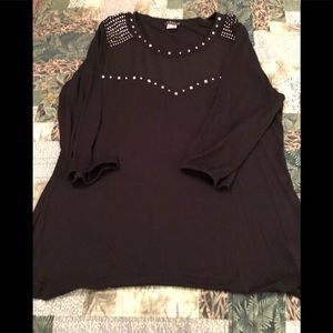 Venus black studded and mesh top large